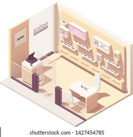 Vector isometric eyewear or optical shop interior. Eyeglasses and sunglasses on display, counter with cash register