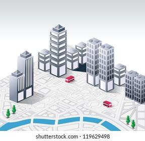 Vector isometric fantasy on the theme of urban