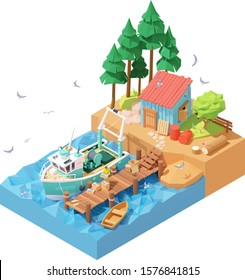 Vector isometric fisherman unloading catch from docked fishing trawler. Wooden pier, moored fishing vessel or ship, man holding box with fresh fish, fisherman house, flock of seagulls flying around
