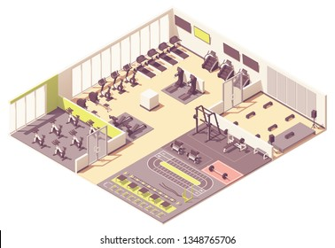 Vector isometric fitness club or gym interior cross-section with fitness equipment and machines. Treadmill, rowing machine, exercise bike, step machine, weight bench, cycling and step aerobics rooms
