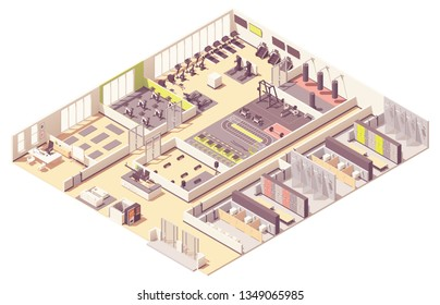 Vector isometric fitness club or gym interior cross-section with fitness equipment and machines. Cycling room, step aerobics and pilates rooms, boxing zone, locker rooms and gym machines