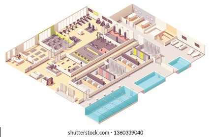 Vector isometric fitness club or gym interior cross-section with fitness equipment and machines. Cycling, step aerobics and pilates rooms, boxing zone, swimming pool, massage and steam rooms, lockers
