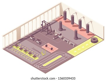 Vector isometric fitness club gym interior cross-section with fitness equipment and machines. Dumbbells, battle ropes, wheel and punching bags