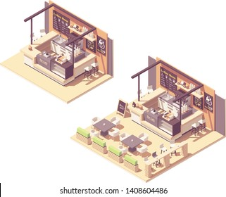 Vector isometric food court coffee shop or coffeehouse kiosk. Cafe interior with coffee machines, tables, seats, counter, cash register and blackboard menu