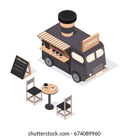 Vector isometric food trucks icons and objects. Trucks with coffee. Illustration street drink bus. Vintage bus. Coffee shop.