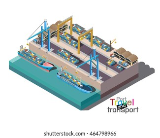 Vector isometric freight container ship in cargo port loaded by cranes 3D isometric