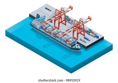 Vector isometric freight container ship in cargo port loaded by cranes