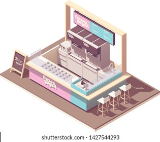 Vector isometric frozen yogurt kiosk cross-section. Cafe interior with frozen yogurt makers and refrigerator, counter, cash register, credit card terminal, blackboard menu