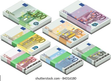 Vector isometric full set euro banknotes. 3D 5 Set Vector twenty banknote Isometric Euro Illustration