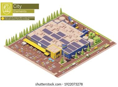 Vektorisometrische Möbel, Küchengeräte und Wohnungsdekoration Lagerhaus. Supermarkt-, Einkaufszentrum- oder Hypermarkt-Gebäude mit Lager und LKW