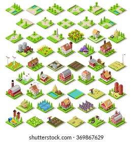 Vector Isometric game Flat infographic Building Farm Set City Map 3D Flat Collection Set farm City Icon pack Rural design house isometric infographic Farm home 3D Vector Flat Icon game Illustration
