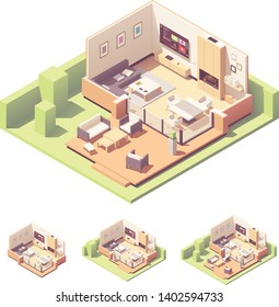 Vector isometric garden summer house interior. Sofa, coffee table, tv, dining area, fireplace, patio and outdoor furniture