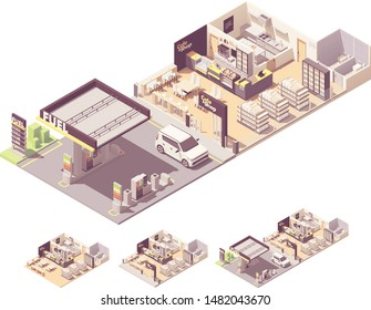 Vector isometric gas filling station interior and exterior. Petrol and diesel fuel dispensers or pumps, convenience store, cafe or restaurant with kitchen, toilets