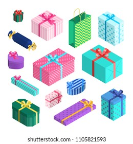 a9e12c444ce Vector isometric gift boxes set of different size with ribbons and bows  wrapped in packaging paper