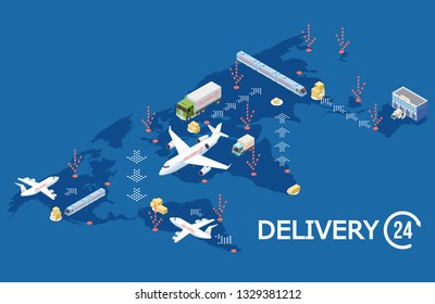 Vector isometric global logistic concept, Delivery world map illustration