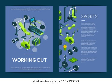 Vector isometric gym objects card, flyer or brochure template illustration