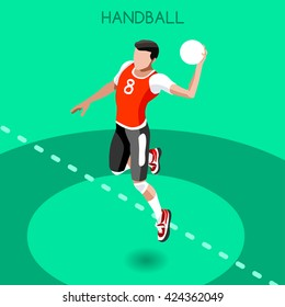 Vector Isometric Handball Athlete Sportsman Games Icon Set. 3D Isometric Athlete. Sporting Championship People Handball Match Competition. Sport Infographic events Handball Vector Illustration Sport