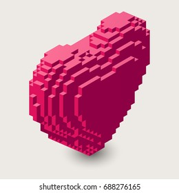 Vector isometric heart illustration. 3d pixel icon. Voxel heart shape in three dimensional pixel style.