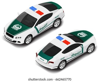 "Vector isometric high quality police sport car . Police icon. Translation of text ""police"" of Dubai. Official Dubai police logo"