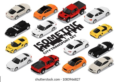 Vector isometric high quality transport set. Car icons.