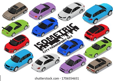 Vector isometric high quality transport set. Car icons