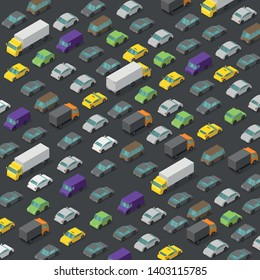 Vector isometric high traffic jam. A lot of cars. Transport highway background pattern. Top view of the road and multi-colored cars.