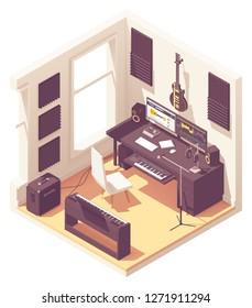 Vector isometric home music recording studio with related equipment. Keyboards, guitar, amplifier, audio interface, microphone, headphones, desk and computer with sound editing software