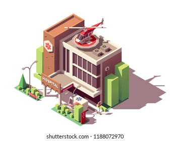 Vector isometric hospital or clinic building with emergency entrance, ambulance helicopter and ambulance vehicle