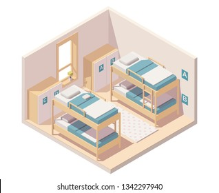 Vector isometric hostel room or dormitory room interior with bunk beds and wardrobes