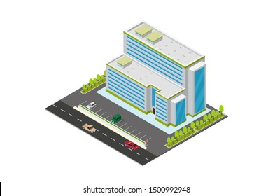 vector isometric hotel, apartment, school, or skyscraper building, isolation on white