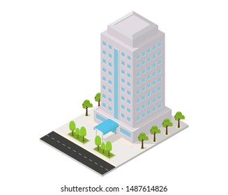 vector isometric hotel, apartment, or skyscraper building, isolation on white