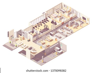 Vector isometric hotel interior cross-section. Hotel rooms and suit, reception, fitness gym, breakfast area, kitchen, laundry room, underground parking garage