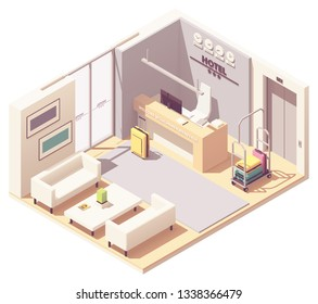 Vector isometric hotel reception or lobby interior cross-section with hotel entrance, receptionist desk, waiting area, elevator and luggage cart with bags