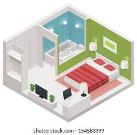 Vector isometric hotel room icon