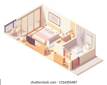 Vector isometric hotel suite interior cross-section with double bed, big windows and balcony, tv, small bathroom, shower cabin and toilet