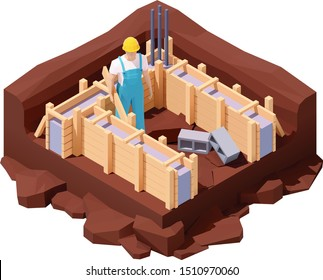 Vector isometric house construction site. House builder working on new cement or concrete foundation of the buildings with wooden formwork