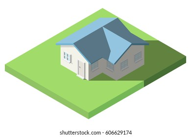Vector Isometric of House on the grass with garden for Icon, Infographic design.
