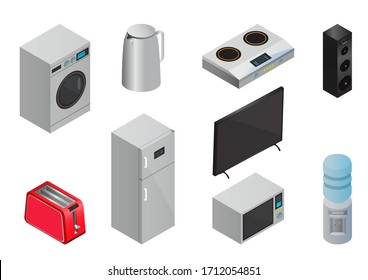 Vector Isometric Household appliances icons set
