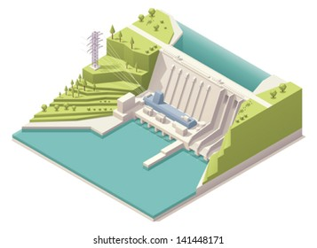 Vector isometric hydroelectric power station with power lines