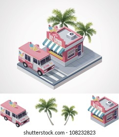 Vector isometric ice cream store building and truck
