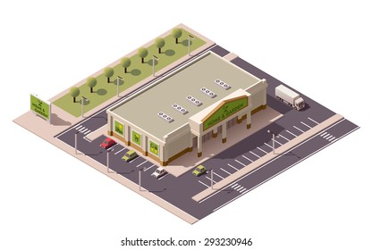 Vector isometric icon or infographic element representing low poly shopping mall or supermarket