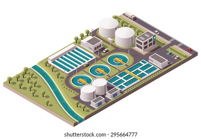 Vector isometric icon or infographic element representing low poly water treatment plant and related  facilities