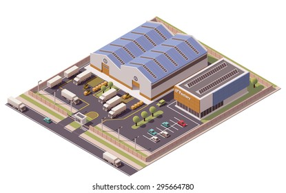 Vector isometric icon or infographic element representing low poly factory building, warehouse, office and semi-trucks with trailers