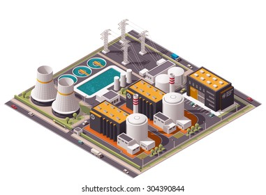 Vector isometric icon or infographic element representing low poly nuclear power station, reactors, power lines and nuclear energy generation related facilities