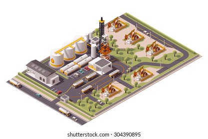 Vector isometric icon or infographic element representing low poly oil field plant with oil pumps, related industrial facilities loading semi-trucks tanks