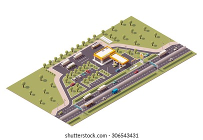 Vector isometric icon or infographic element representing low poly highway fuel filling station