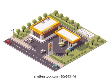 Vector isometric icon or infographic element representing low poly petroleum filling station and cars
