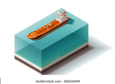Vector isometric icon or infographic element representing low poly oil tanker ship on the water surface