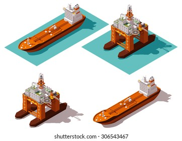 Vector isometric icon or infographic element representing low poly offshore oil platform and oil tanker ship