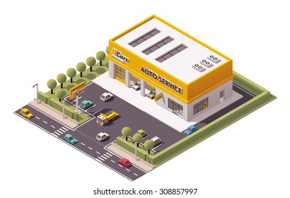 Vector isometric icon or infographic element representing low poly Car Service station building